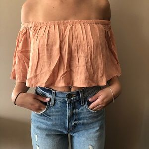 LF peach off the shoulder top